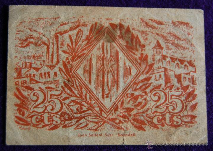 Billetes locales: BILLETE LOCAL ORIGINAL DE EPOCA. AYUNTAMIENTO SABADELL. 25 VINT-I-CINC CENTIMOS. 1937. GUERRA CIVIL. - Foto 2 - 54991360