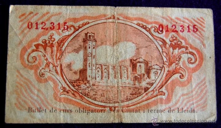 Billetes locales: BILLETE LOCAL ORIGINAL DE EPOCA. AYUNTAMIENTO LLEIDA. 25 VINT I CINC CENTIMOS. 1937. GUERRA CIVIL. - Foto 2 - 54991382
