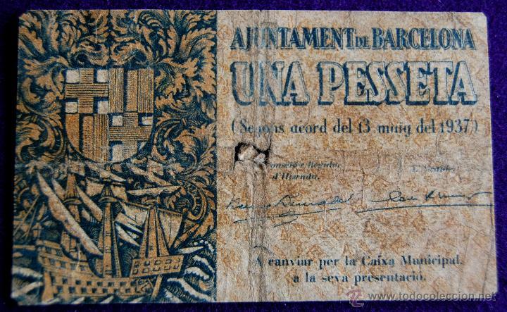 BILLETE LOCAL ORIGINAL DE EPOCA. AYUNTAMIENTO BARCELONA. 1 UNA PESETA. 1937. GUERRA CIVIL. (Numismática - Notafilia - Billetes Locales)