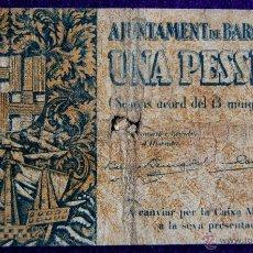 Billetes locales: BILLETE LOCAL ORIGINAL DE EPOCA. AYUNTAMIENTO BARCELONA. 1 UNA PESETA. 1937. GUERRA CIVIL.. Lote 54991458
