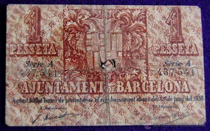 Billetes locales: BILLETE LOCAL ORIGINAL DE EPOCA. AYUNTAMIENTO BARCELONA. 1 UNA PESETA. 1937. GUERRA CIVIL. - Foto 2 - 54991458