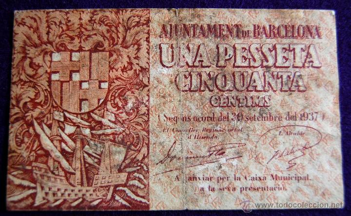 BILLETE LOCAL ORIGINAL DE EPOCA. AYUNTAMIENTO BARCELONA. 1,50 PESETAS. 1937. GUERRA CIVIL. (Numismática - Notafilia - Billetes Locales)