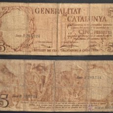 Billetes locales: BILLETE DE 5 PESETAS GENERALITAT CATALUNYA 5 PESSETES 25 SEPTIEMBRE DE 1936 GUERRA CIVIL. Lote 55081226