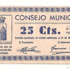 Billetes locales: 25 CÉNTIMOS DE MONZÓN (ORIGINAL) MUY BONITO. Lote 55127925