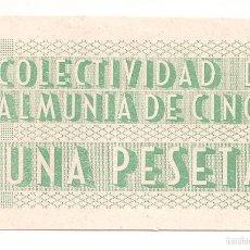 Billetes locales: 1 PESETA DE LA ALMUNIA DE CINCA (PLANCHA) MUY RARO. Lote 55128012