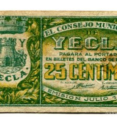 Billetes locales: 25 CÉNTIMOS - YECLA. Lote 55791259