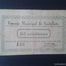 Billetes locales: CONSEJO MUNICIPAL DE CASTELLOTE. TERUEL. 25 CÉNTIMOS. CUÑO AYUNTAMIENTO. NÚMERO BAJO.. Lote 55819804