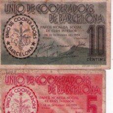 Billetes locales: DOS BILLETES BARCELONA DEL AÑO 1936. Lote 55883616