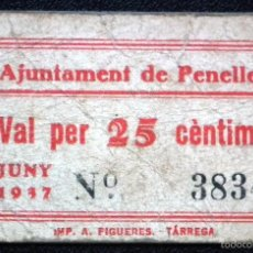 Billetes locales: BILLETE LOCAL PENELLES 25 CTS.. Lote 55913302
