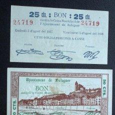 Billetes locales: BILLETE LOCAL BALAGUER 25 CTS, 50 CTS Y 1 PTA. SIN CIRCULAR.. Lote 55952036
