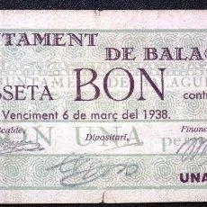 Billetes locales: BILLETE LOCAL BALAGUER 1 PTA.. Lote 55952318