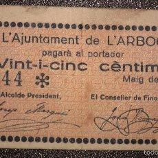 Billetes locales: BILLETE LOCAL ARBOÇ 25 CTS.. Lote 56053355