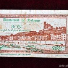 Billetes locales: BILLETE DEL AYUNTAMIENTO DE BALAGUER. 50 CENTIMOS DEL AÑO 1937. GUERRA CIVIL. Lote 56071887