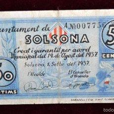 Billetes locales: BILLETE DEL AYUNTAMIENTO DE SOLSONA. 50 CENTIMOS DEL AÑO 1937. GUERRA CIVIL. Lote 56072512