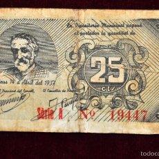 Billetes locales: BILLETE DEL CONSELL MUNICIPAL DE REUS. 25 CENTIMOS DEL AÑO 1937. GUERRA CIVIL. Lote 56075004