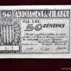 Billetes locales: BILLETE DEL AYUNTAMIENTO DE VILABOI. 50 CENTIMOS DEL AÑO 1937. GUERRA CIVIL. Lote 56075823