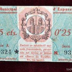 Billetes locales: BILLETE DEL CONSELL MUNICIPAL D'ESPARREGUERA. 25 CENTIMOS DEL AÑO 1937. GUERRA CIVIL. Lote 56075889