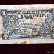 Billetes locales: BILLETE DEL CONSELL MUNICIPAL DE ROSES DE LLOBREGAT. 1 PESETA DEL AÑO 1937. GUERRA CIVIL. Lote 56091803