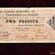 Billetes locales: BILLETE DEL CONSELL MUNICIPAL DE VILAFRANCA DEL PENEDES. 1 PESETA DEL AÑO 1937. GUERRA CIVIL. Lote 56092697