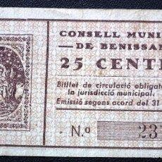 Billetes locales: BILLETE LOCAL BENISSANET 25 CTS.. Lote 56321693