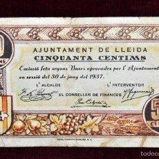 Billetes locales: BILLETE DEL AYUNTAMIENTO DE LLEIDA. 50 CENTIMOS DEL AÑO 1937. GUERRA CIVIL. Lote 56381548
