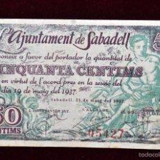 Billetes locales: BILLETE DEL AYUNTAMIENTO DE SABADELL. 50 CENTIMOS DEL AÑO 1937. GUERRA CIVIL. Lote 56382336