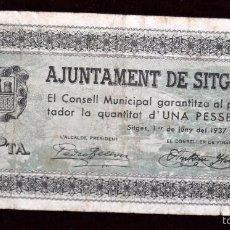 Billetes locales: BILLETE DEL AYUNTAMIENTO DE SITGES. 1 PESETA DEL AÑO 1937. GUERRA CIVIL. Lote 56387658