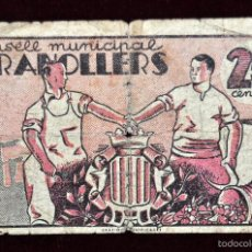 Billetes locales: BILLETE DEL CONSELL MUNICIPAL DE GRANOLLERS. 25 CENTIMOS DEL AÑO 1937. GUERRA CIVIL. Lote 56403029