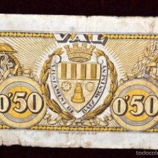 Billetes locales: BILLETE DEL AYUNTAMIENTO DEL BAIX MONTSENY. 50 CENTIMOS. GUERRA CIVIL. Lote 56403067