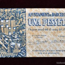 Billetes locales: BILLETE DEL AYUNTAMIENTO DE BARCELONA. 1 PESETA DEL AÑO 1937. GUERRA CIVIL. Lote 56403172