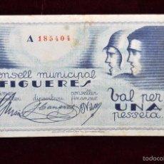 Billetes locales: BILLETE DEL CONSELL MUNICIPAL DE FIGUERES. 1 PESETA DEL AÑO 1937. GUERRA CIVIL. Lote 56403874