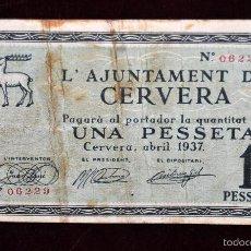 Billetes locales: BILLETE DEL AYUNTAMIENTO DE CERVERA. 1 PESETA DEL AÑO 1937. GUERRA CIVIL. Lote 56405049
