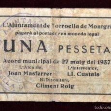 Billetes locales: BILLETE DEL AYUNTAMIENTO DE TORROELLA DE MONTGRÍ. 1 PESETA DEL AÑO 1937. GUERRA CIVIL. Lote 56406324