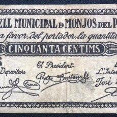 Billetes locales: BILLETE LOCAL MONJOS DEL PENEDÈS 50 CTS.. Lote 56492802