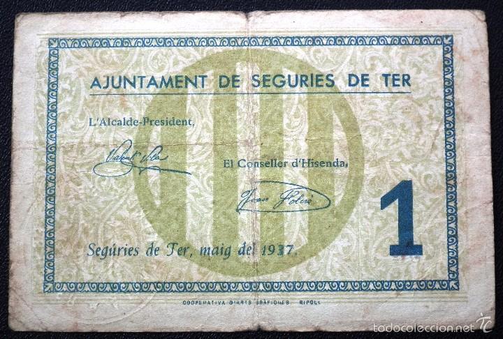 BILLETE LOCAL SEGURIES DE TER 1 PTA. (Numismática - Notafilia - Billetes Locales)
