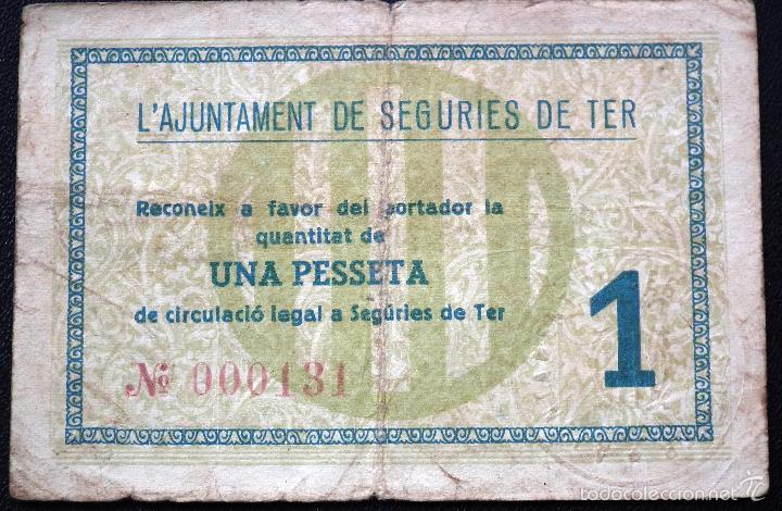 Billetes locales: BILLETE LOCAL SEGURIES DE TER 1 PTA. - Foto 2 - 56598317
