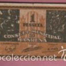 Billetes locales: INTERESANTE BILLETE DEL CONSELL MUNICIPAL DE MANRESA, DE VALOR 1 PESETA. Lote 56591506