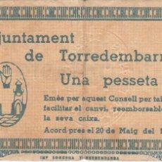 Billetes locales: BILLETE DE 1 PESETA DEL AJUNTAMENT DE TORREDEMBARRA DEL AÑO 1937 (SELLO SECO). Lote 56962994