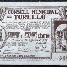 Billetes locales: BILLETE LOCAL TORELLÓ 25 CTS.. Lote 56969129