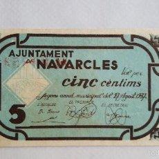 Billetes locales: F 1725 BILLETE LOCAL DE 5 CENTIMOS AJUNTAMENT DE NAVARCLES T1891 - EBC. Lote 133348931