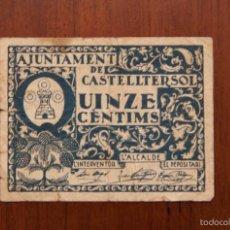 Billetes locales: BILLETE CASTELLTERSOL QUINZE CÈNTIMS 1937. TURRÓ 893 - C. MBC. Lote 57560644
