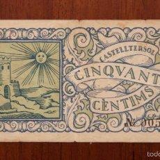 Billetes locales: BILLETE CASTELLTERSOL CINQUANTA CÈNTIMS 1937. TURRÓ 891 - C. MBC. Lote 57560684