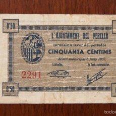 Billetes locales: BILLETE EL PERELLÓ 50 CÈNTIMS 1937. TURRÓ 2098B - E. MBC. Lote 180138847