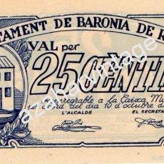 Billetes locales: BILLETE LOCAL BARONIA DE RIALB , 25 CTS ,1937. Lote 57573056