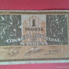 Billetes locales: CONSELL MUNICIPAL DE MANRESA. 1 PESSETA. SERIE A018712. CIRCULADO. GUERRA CIVIL.. Lote 57736844