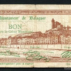 Billetes locales: GUERRA CIVIL, BILLETE LOCAL, AJUNTAMENT DE BALAGUER, VALOR: 50 CÉNTIMOS, 1937. Lote 58076259