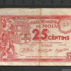 Billetes locales: 25 CÉNTIMOS - MOIÀ. Lote 58192742