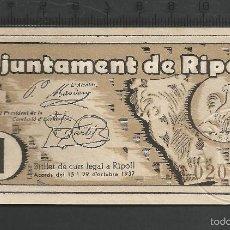 Billetes locales: 1 PESETA - RIPOLL. Lote 58192776