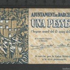 Billetes locales: 1 PESETA - BARCELONA. Lote 58192807
