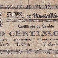 Billetes locales: BILLETE DE 50 CENTIMOS DEL CONSEJO MUNICIPAL DE MONTALBAN DEL AÑO 1937 . Lote 59933143
